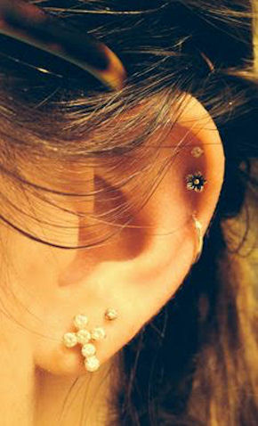 Ear piercing lobes and cartilage